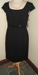 8c21a234dfb Image is loading Tahari-Black-Sheath-Dress-Size-10-NWT-Cap-
