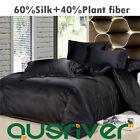 Genuine Silk Luxury Black Satin Single/Double/Queen/KB Size Bed Quilt/Doona Set