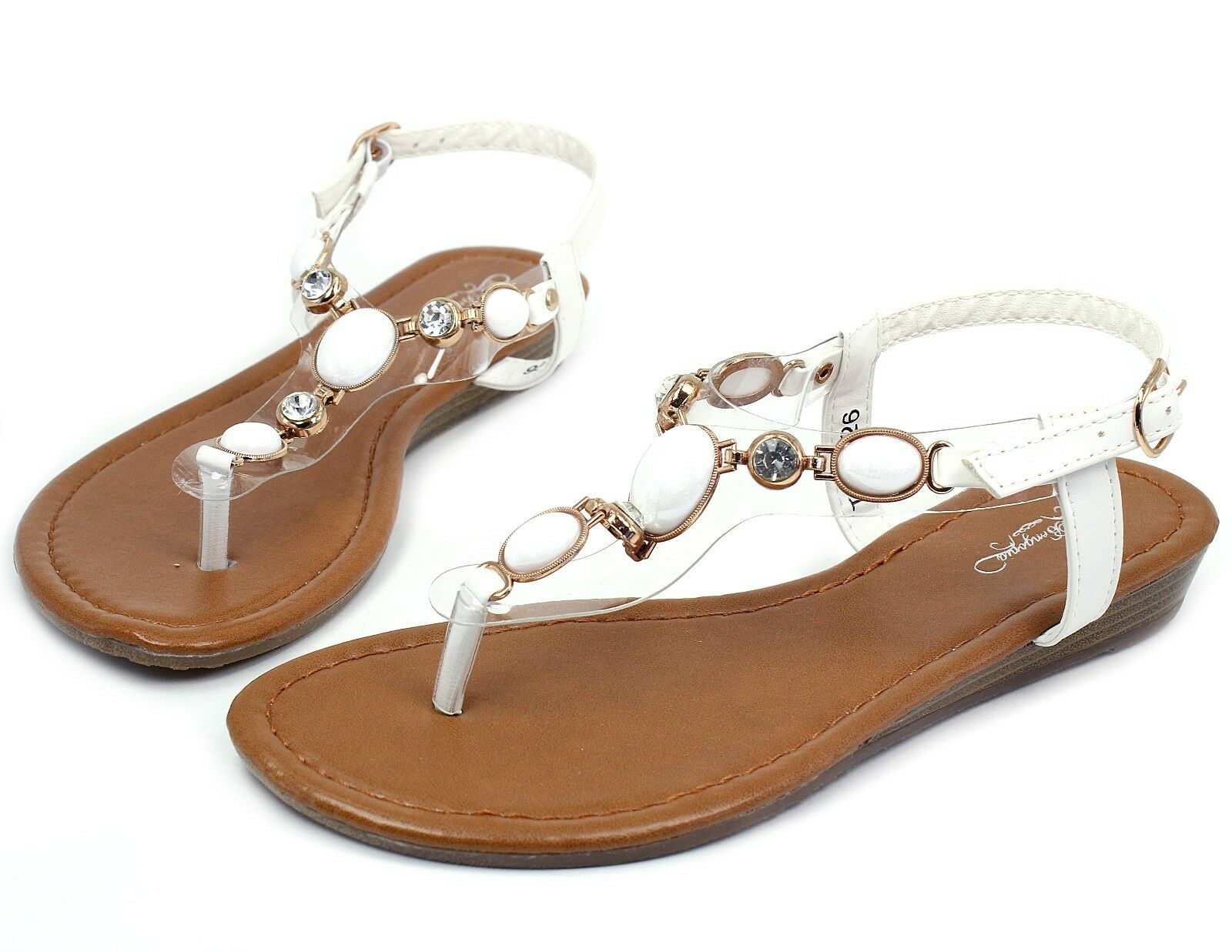THW-26 New Sandals Gladiator Buckle Low Heel Sandals New Casual Women Shoes White 8 32f8c2