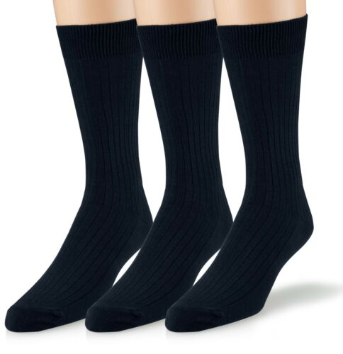 EMEM Men/'s Ribbed Cotton Classic Crew Dress Socks 3-Pack Big and Tall Available