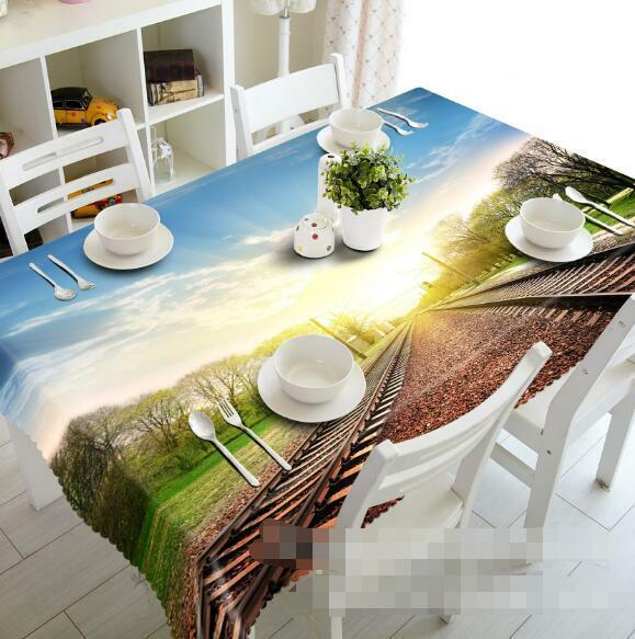 3D Railway 987 Tablecloth Table Cover Cloth Birthday Party Event AJ WALLPAPER UK