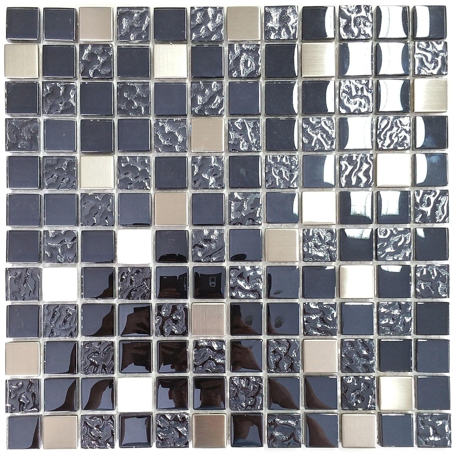 1 qm 30x30 cm Glasmosaik Edelstahl Mosaik Dark Night Deluxe grau silber Alu