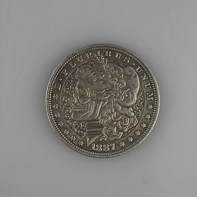 One Dollar CD Metal Morgan SIlver COIN USA1896 Pirate HOBO Zombie Skull Skeleton