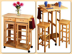 Island Kitchen Bar Rolling Cart Set 3 Piece Table Dinning Stools Wheels Wood New Ebay