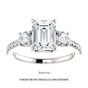 3-00-Carat-Emerald-Cut-Moissanite-Forever-One-DEF-Ring-14KGold-Charles-amp-Colvard