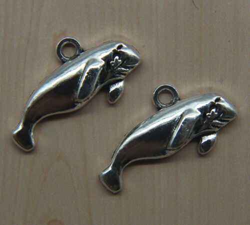 Free ship retro style Lovely manatee alloy charms pendants 13*24mm