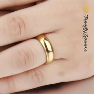 18K-Gold-plated-Polished-Stainless-Steel-Wedding-Engagement-Band-Rings