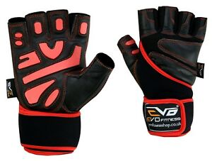 EVO-Fitness-Leather-Gym-Gloves-Weightlifting-Cycling-Wheelchair-Neoprene-Straps