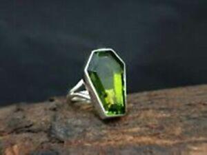 Peridot Coffin Ring 925 Sterling Silver Ring Handmade Ring All Size KA-60