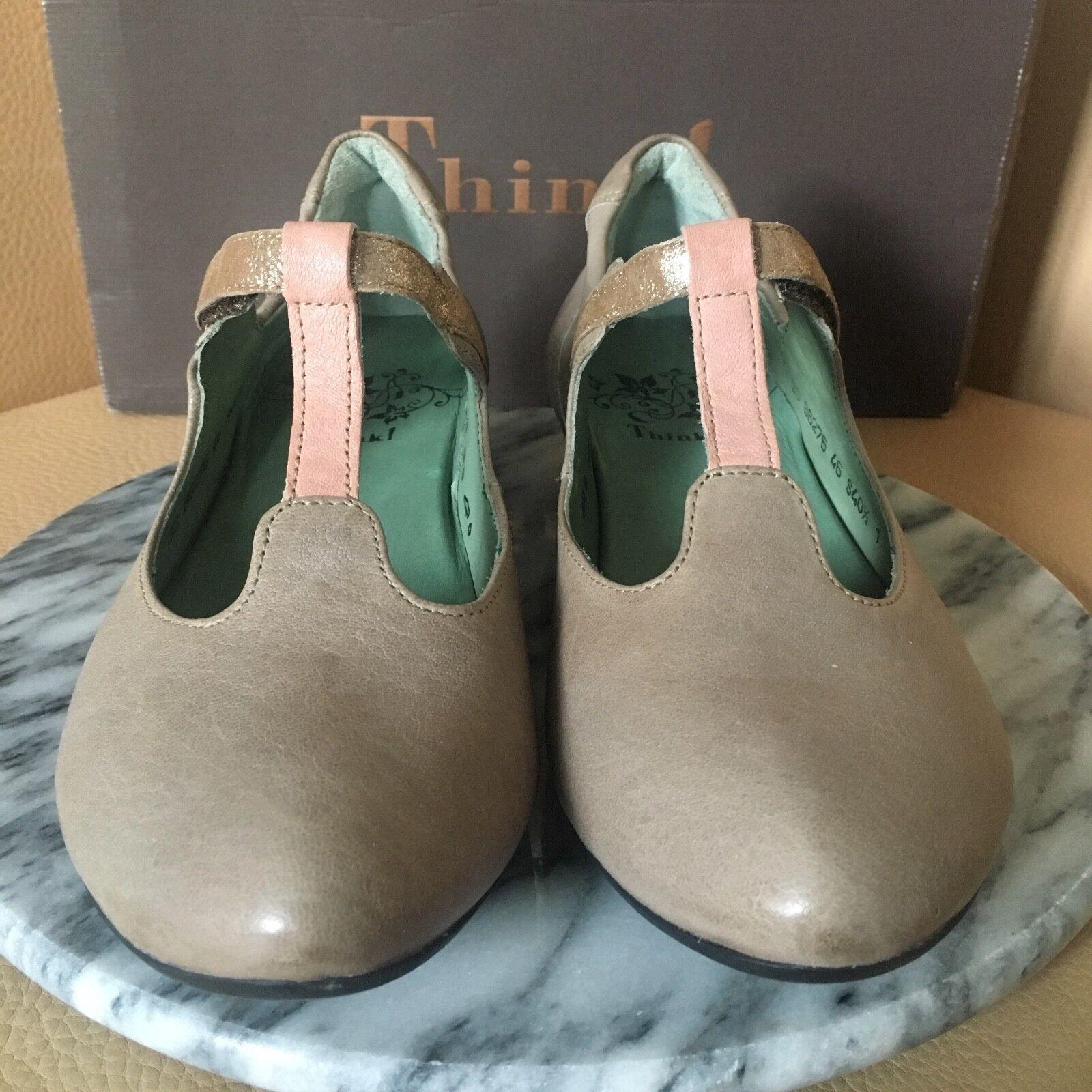 THINK  Schuhe  Fesh  Sling Pumps Sandaletten Riemchen Absatz Leder Grau Gr. 40,5  | Modern Und Elegant In Der Mode