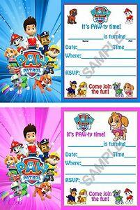 Paw Patrol Birthday Party Invitations (12) Boy & Girl with envelopes.
