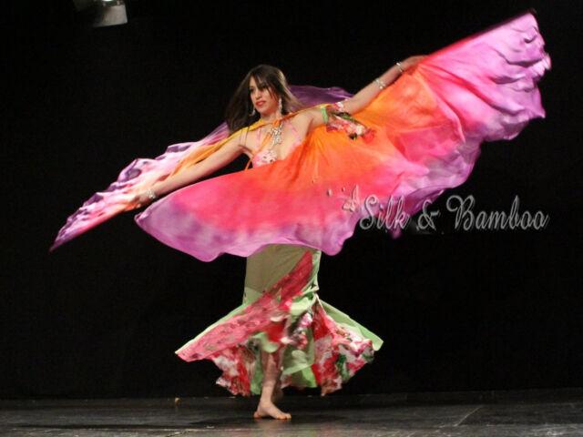 1pair 9'x45(2.7m*1.1m) detachable 6mm habotai dance silk wing=2pcs double veils
