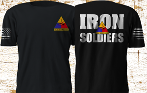1st Armor Division Old Ironsides Soldier Military US Army T-Shirt Black S-4XL