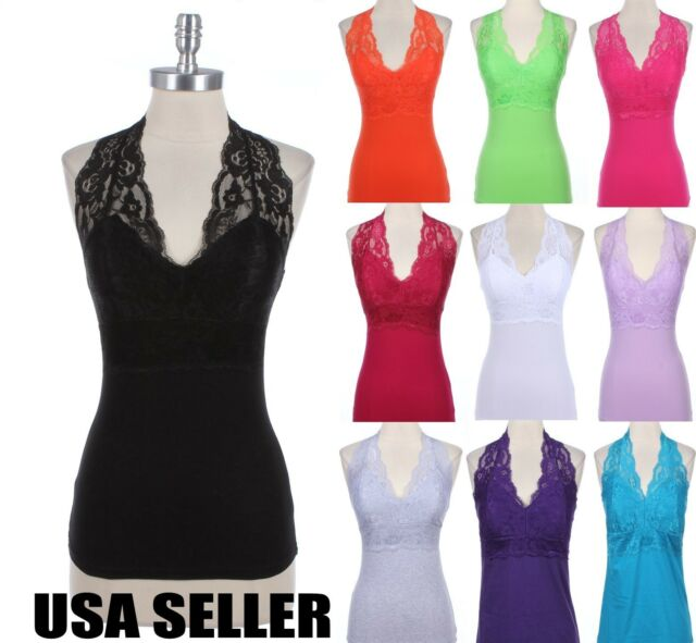 Women Sexy Lace Halter V Neck Sleeveless Cotton Tank Top with Padded Bra