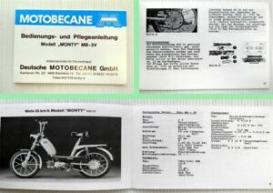 Motobecane-Monty-MB-3V-Mopeds-Bedienungsanleitung-Plegeanleitung