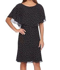 0f4700bb272 NWT MSRP  128 - TAHARI by ASL Polka Dot Chiffon Popover Dress