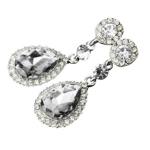 Silver Crystal Rhinestone Long Drop Dangle Diamante Bridal Wedding Earrings UK