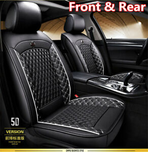 Car-Seat-Covers-For-Auto-SUV-Truck-Front-amp-Rear-Black-White-PU-Leather-Universal