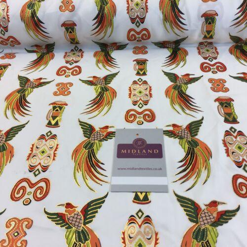 "White Birds Batik Papouasie-Imprimé avec feuille d/'or Robe Tissu 44/"" M145-71 Mtex"