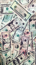 Dollar Bills Allover 4-Way Stretch Fabric by the yard