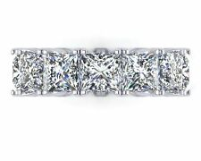 925 sterling silver Cz 6mm Princess Cut Eternity band Stunning cocktail ring *
