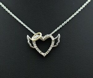 Sterling-Silver-14k-Yellow-Gold-Halo-Diamond-Heart-amp-Angel-Pendant-amp-Necklace
