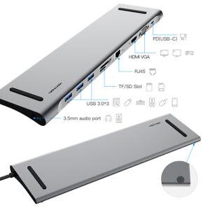 Docking-Station-USB-C-All-in-One-con-porte-HDMI-VGA-Lan-3x-Usb-3-0-Card-Reader