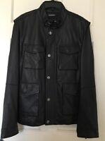Michael Kors Mens Coat Jacket L Leather Vest Sheepskin Removable Sleeves