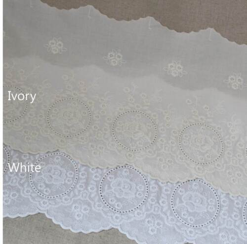"1yard Broderie Anglaise Eyelet Cotton lace trim 8.5/"" 21.5cm YH1487 laceking2013"