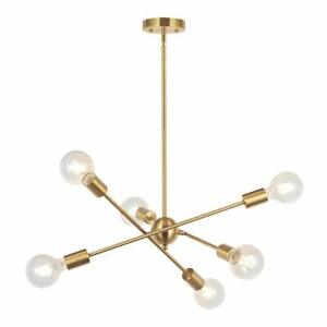 Mid-Century-Modern-6-Lights-Sputnik-Chandelier-Brass-Pendant-Lamp-Ceiling-Lights