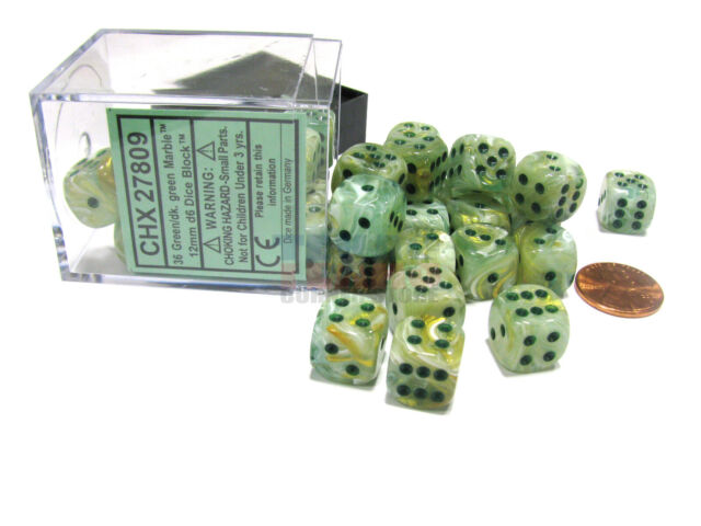 Chessex Dice 12mm D6 Marble Green Dark Green 36 For Sale Online Ebay