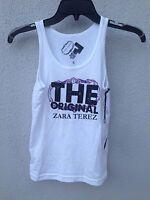 $40 Zara Terez White Tank With Purple Logo Print Super Soft Size L Or 14