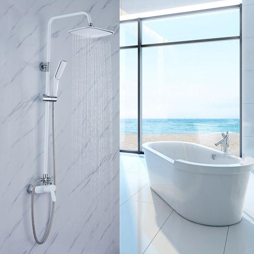 Sistema per bagno colonna doccia soffione a pioggia doccetta saliscendi bianco