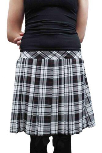 "Crazy Chick Women/'s Pleated Back Elastic Red Blue Black Tartan Skirt 16/"" Long"