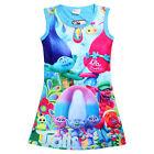 Newest Kids Girls Poppy Trolls Sleeveless Dress Summer Casual Party Vest Dresses
