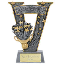V SERIES RESIN FOOTBALL MANAGER TROPHY OFFICIALS AWARD FREE ENGRAVING A1529B