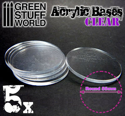 5x Acrylic Bases - Round 55mm CLEAR - Thickness 3mm Wargames Miniatures Infinity