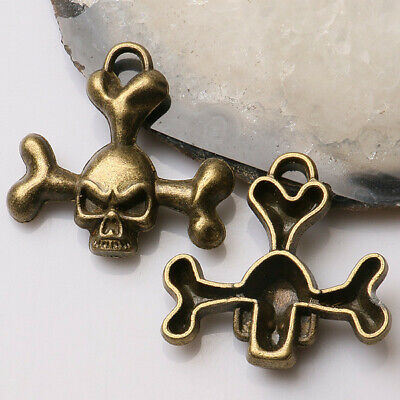 28pcs//lot Antique Bronze Alloy Skull Head Round Charms Pendants 25*25*1mm 39348
