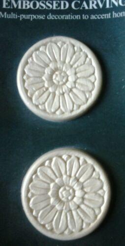 "Pair Embossed Smaller Sunflower Design Wood Applique ONLAY 2 1//8/"" Round"