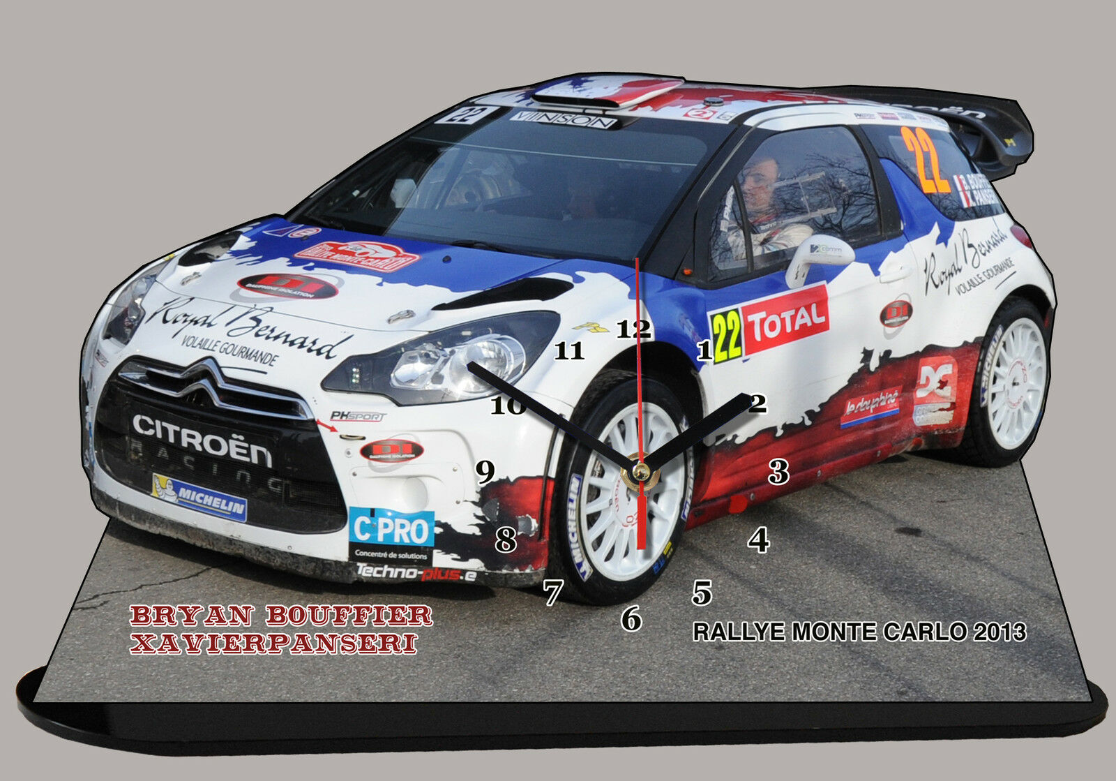 MINIATURE, MODEL CAR, BOUFFIER CITROEN DS3, RALLYE MONTE CARLO 2013 en horloge