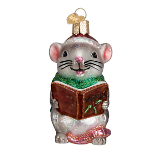 Old-World-Christmas-CAROLING-MOUSE-GRAY-12427-N-Glass-Ornament-w-OWC-Box
