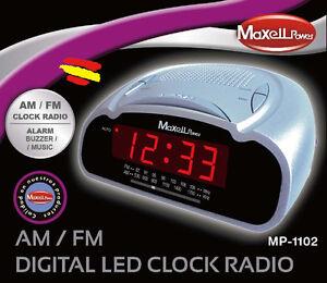 RADIO DESPERTADOR Reloj Noche MAXELL MP-1102 Musica o Alarma FM AM antena intern