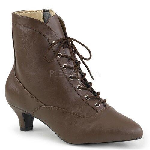 Pleaser FAB-1005 Ankle/Mid-Calf Stiefel Braun Faux Leder Victorian Kitten Heels
