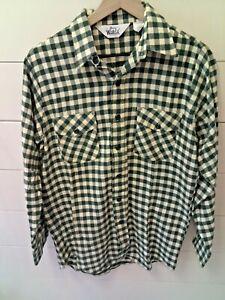 VINTAGE-WOOLRICH-Mens-Medium-Green-White-Checkered-Button-Down-Shirt