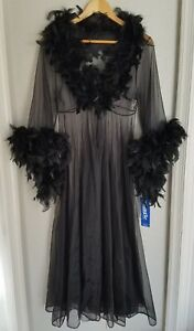 NWT-Sexy-Vtg-80s-Boutique-Lingerie-Long-Sheer-Black-Robe-w-Feathers-Sz-Medium