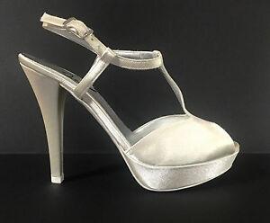 official photos d517e faa63 Dettagli su JOEL Scarpe donna sposa sandali in raso color avorio con tacco  alto e plateau