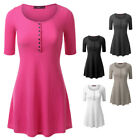 [FINAL SALE]Doublju Women Short Sleeve Henley Flare Ribbed Knit Tunic Dress Top