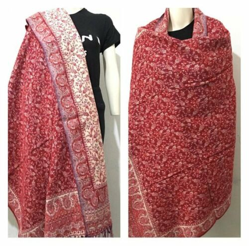 RED BEIGE COLOR SHAWLS YAK WOOL SCARF WINTER BLANKET XMAS GIFT FOR ANYONE