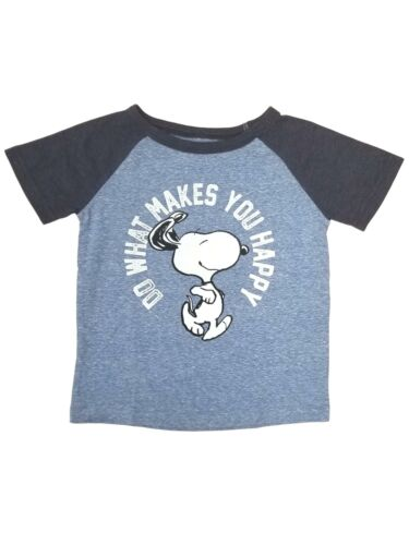 Snoopy Toddler Boys Blue Do What Makes You Happy T-Shirt Puppy Dog Tee Shirt
