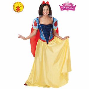 Ladies Princess Snow Costume Long Womens White Fairytale Book Week Fancy Dress